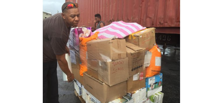 Love Packages shipped container to Barbados for the churches of Nassau Bahamas donated by Eagles Nest Ministries following Dorians devestation