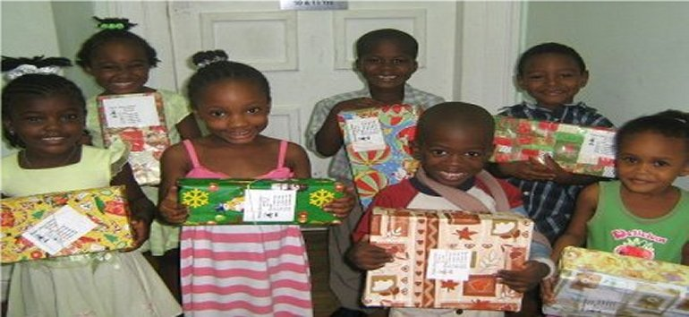 Love Gifts for the children of Dominica packed by Barbadian children