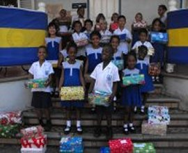 Primary Schools packing the Love Gifts for Dominica