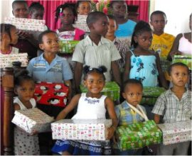 Sunday Schools packing the Love Gifts for Dominica