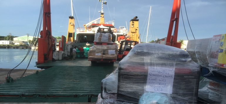 Thanks to the Admirald Bay 2 that transported our donated items to Dominica